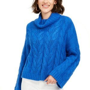Sun + Moon Blue Cowl-Neck Cable-Knit Sweater